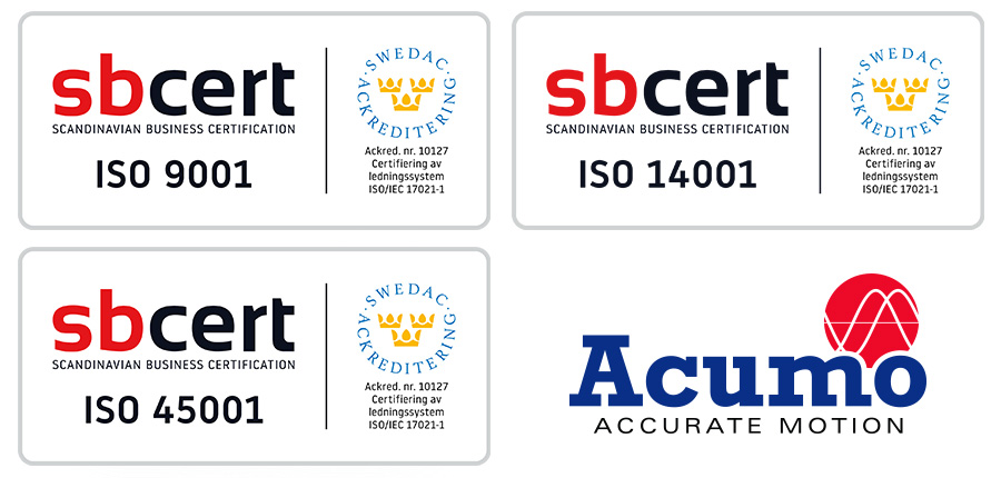 Vi är stolta över att Acumo AB från juni 2019 är ISO-certifierat enligt ISO 9001, ISO 14001 och ISO 45001