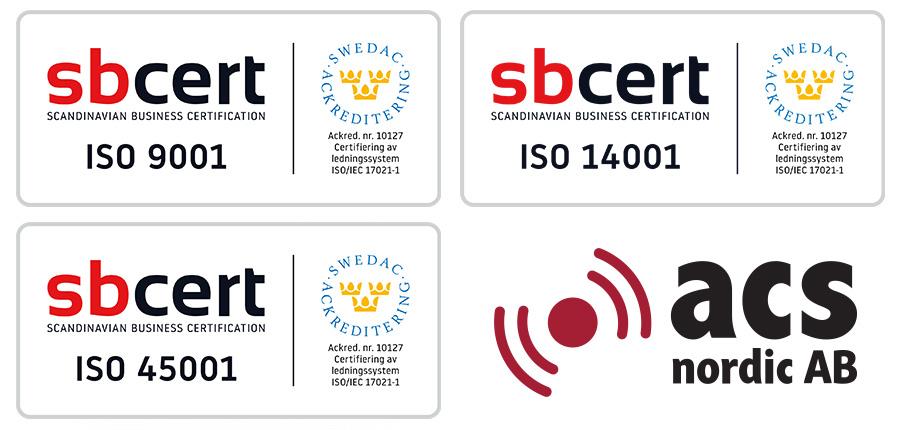 Vi är stolta över att ACS Nordic AB från juni 2019 är ISO-certifierat enligt ISO 9001, ISO 14001 och ISO 45001